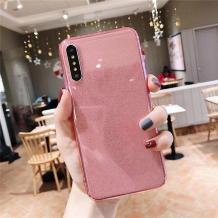 Силиконов калъф / гръб / TPU Bling за Huawei P30 Lite - прозрачен / розов / брокат