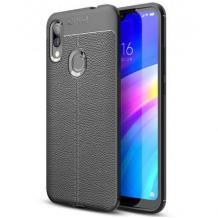 Луксозен силиконов калъф / гръб / TPU за Samsung Galaxy A10s - черен / имитиращ кожа