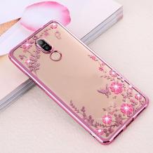 Луксозен силиконов калъф / гръб / TPU с камъни за Nokia 3.2 2019 - прозрачен / розови цветя / Rose Gold кант