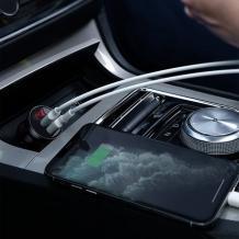 Универсално зарядно за кола Baseus Digital Display Dual USB Car Charger / Input: 12-24V / Output: USB1 5V-2.4A /USB2: 5V-2.4A - сиво