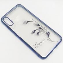 Луксозен силиконов калъф / гръб / TPU / Elegant с камъни за Motorola Moto E6 Plus - прозрачен със син кант / перо
