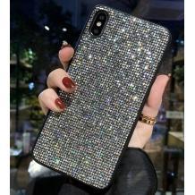 Луксозен силиконов гръб с камъни за Samsung Galaxy Note 10 Plus N975 - сребрист