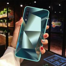 Луксозен твърд гръб със силиконов кант за Samsung Galaxy A70 - зелен \ призма