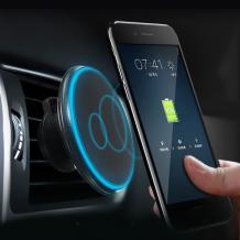 Универсална магнитна стойка за кола с безжично зареждане / Magnetic Wireless Car Charger - черна със син кант