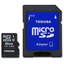 Карта памет Micro SD card Toshiba High Speed 16GB + Micro SD Adapter