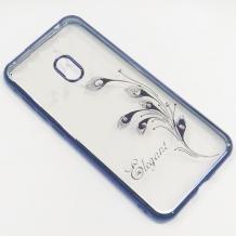 Луксозен силиконов калъф / гръб / TPU / Elegant с камъни за Nokia 2.2 - прозрачен със син кант / перо