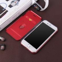Луксозен кожен калъф Flip тефтер със стойка OPEN за Apple iPhone 7 Plus / iPhone 8 Plus  - бял / гланц