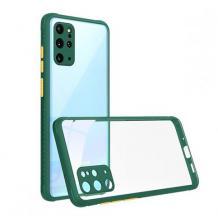 Луксозен твърд калъф / гръб Shockproof за Huawei Y5p - прозрачен / зелен кант