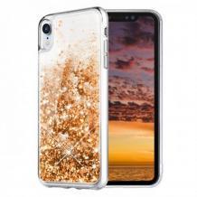 Луксозен твърд гръб 3D Water Case за Samsung Galaxy А20е - прозрачен / течен гръб с брокат / златистЛуксозен твърд гръб 3D Water Case за Samsung Galaxy А20е - прозрачен / течен гръб с брокат / златист