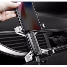 Универсална стойка за кола Baseus Spiderman Gravity Car Mount за Samsung, Apple, Huawei, Lenovo, LG, HTC, Sony, Nokia, ZTE, Xiaomi - черна със сребристо / въртяща се на 360 градуса
