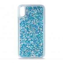 Луксозен твърд гръб 3D Water Case за Huawei P40 Lite - прозрачен / течен гръб със син брокат