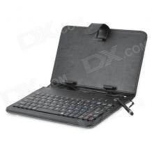 """Универсален кoжен калъф за таблет 7"""" със стойка / клавиатура с Micro USB кабел - черен"""