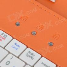 """Универсален кожен калъф за таблет 7"""" със стойка / клавиатура с Micro USB кабел - черен с оранжево"""