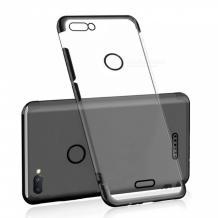 Луксозен силиконов калъф / гръб / TPU за Alcatel 1S - прозрачен / черен кант