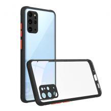 Луксозен твърд калъф / гръб Shockproof за Huawei Y5p - прозрачен / черен кант