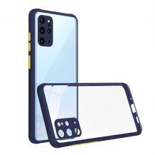 Луксозен твърд калъф / гръб Shockproof за Samsung Galaxy A20s - прозрачен /тъмно син кант