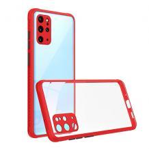Луксозен твърд калъф / гръб Shockproof за Samsung Galaxy A20s - прозрачен / червен кант