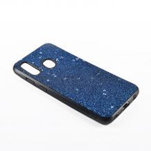 Луксозен силиконов калъф / гръб / TPU Sparking Case за Samsung Galaxy A20e - син брокат / черен кант
