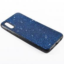Луксозен силиконов калъф / гръб / TPU Sparking Case за Samsung Galaxy A50 - син брокат / черен кант