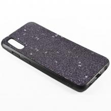 Луксозен силиконов калъф / гръб / TPU Sparking Case за Huawei P30 Pro - черен брокат / черен кант