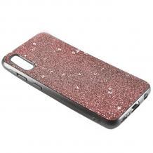 Луксозен силиконов калъф / гръб / TPU Sparking Case за Samsung Galaxy A70 - розов брокат / черен кант