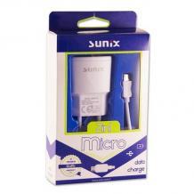Универсално зарядно устройство SUNIX S-207 220V с 1 USB порт 1A и Micro USB кабел за Samsung , LG , HTC , Sony, Nokia, Huawei , ZTE, BlackBerry и др. - бяло