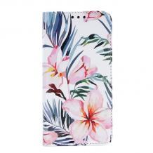 Кожен калъф Flip тефтер със стойка Trendy Book за Huawei Y6p - Blossom
