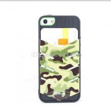 Силиконов калъф / гръб / TPU Alcoco с визитник за Apple iPhone 5 / iPhone 5S - зелен камофлаж