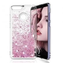 Луксозен твърд гръб 3D Water Case за Huawei P Smart - прозрачен / течен гръб с брокат / сърца / розов