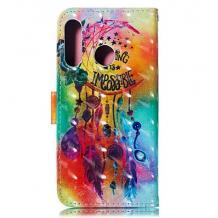 Кожен калъф Flip тефтер Flexi със стойка за Huawei Nova 5T / Honor 20 - цветен / Flower Wind Chimes