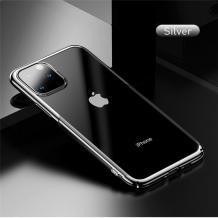 Луксозен твърд гръб Baseus Glitter Clear Case за Apple iPhone 11 Pro 5.8 - прозрачен / сребрист кант