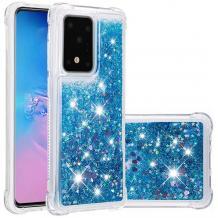 Луксозен твърд гръб 3D Water Case за Samsung Galaxy A71 - прозрачен / течен гръб син брокат