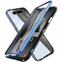 Магнитен калъф Bumper Case 360° FULL за Samsung Galaxy A80 - прозрачен / синя рамка