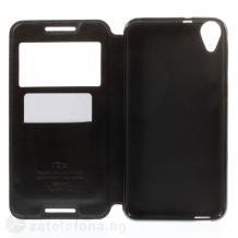 Кожен калъф Flip тефтер Roar Noble Leather View Flexi със стойка за HTC Desire 820 - черен