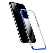 Луксозен твърд гръб Baseus Glitter Clear Case за Apple iPhone 11 6.1 - прозрачен / син кант