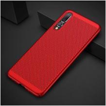 Луксозен твърд гръб за Xiaomi Mi A3 - червен / Grid
