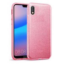 Силиконов калъф / гръб / TPU за Samsung Galaxy A10 - розов / брокат