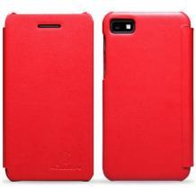 Луксозен кожен калъф Flip тефтер Nillkin за BlackBerry Z10 - червен