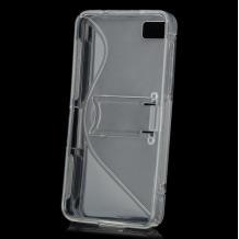 Силиконов калъф / гръб / TPU S-Line със стойка за BlackBerry Z10 - прозрачен