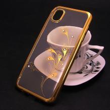 Луксозен силиконов калъф / гръб / TPU / Elegant с камъни за Asus Zenfone Live ZB501KL - прозрачен със златист кант / перо